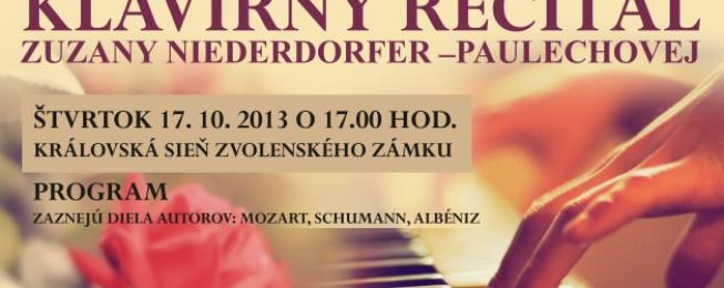 Klavírny recitál Prof. Zuzany Niederdorfer, ArtD.