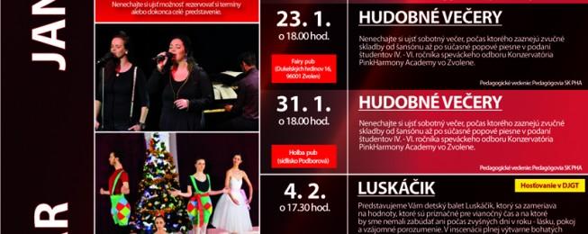 Program podujatí, predstavení a koncertov na mesiace január a február 2015