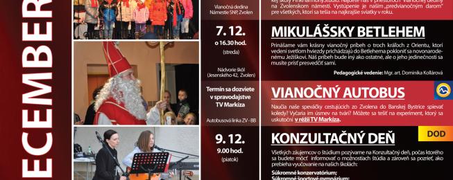 Predstavenia, koncerty a podujatia – december 2016