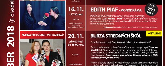 Program Komorného divadla J. M. Pinku na november 2018
